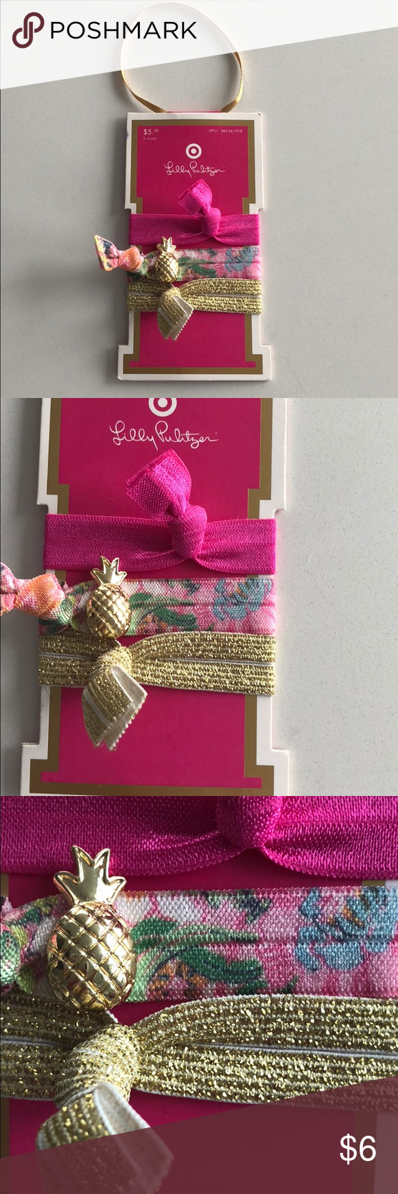 NWT Lilly Pulitzer Hair Ties 🍍🍍 NWT Lilly Pulitzer Hair Ties 🍍🍍from  Lilly x Target collection. Pink pineapple and gold. Super cute! ed0c8d718fc