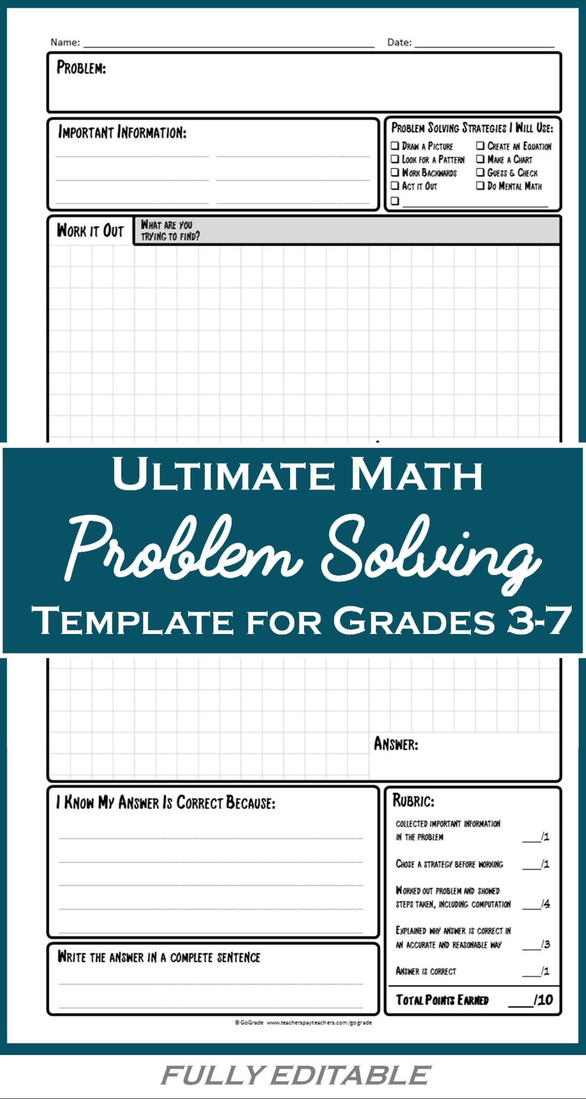 Math Problem Solving Worksheets: A Structured Strategy For Solving ...