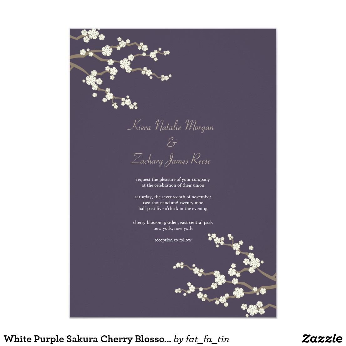 White Purple Sakura Cherry Blossoms Wedding Invite Invites Wedding