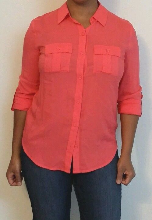 A.N.A. Rayon Button Down Shirt Small Pink Coral Salmon #ana ...