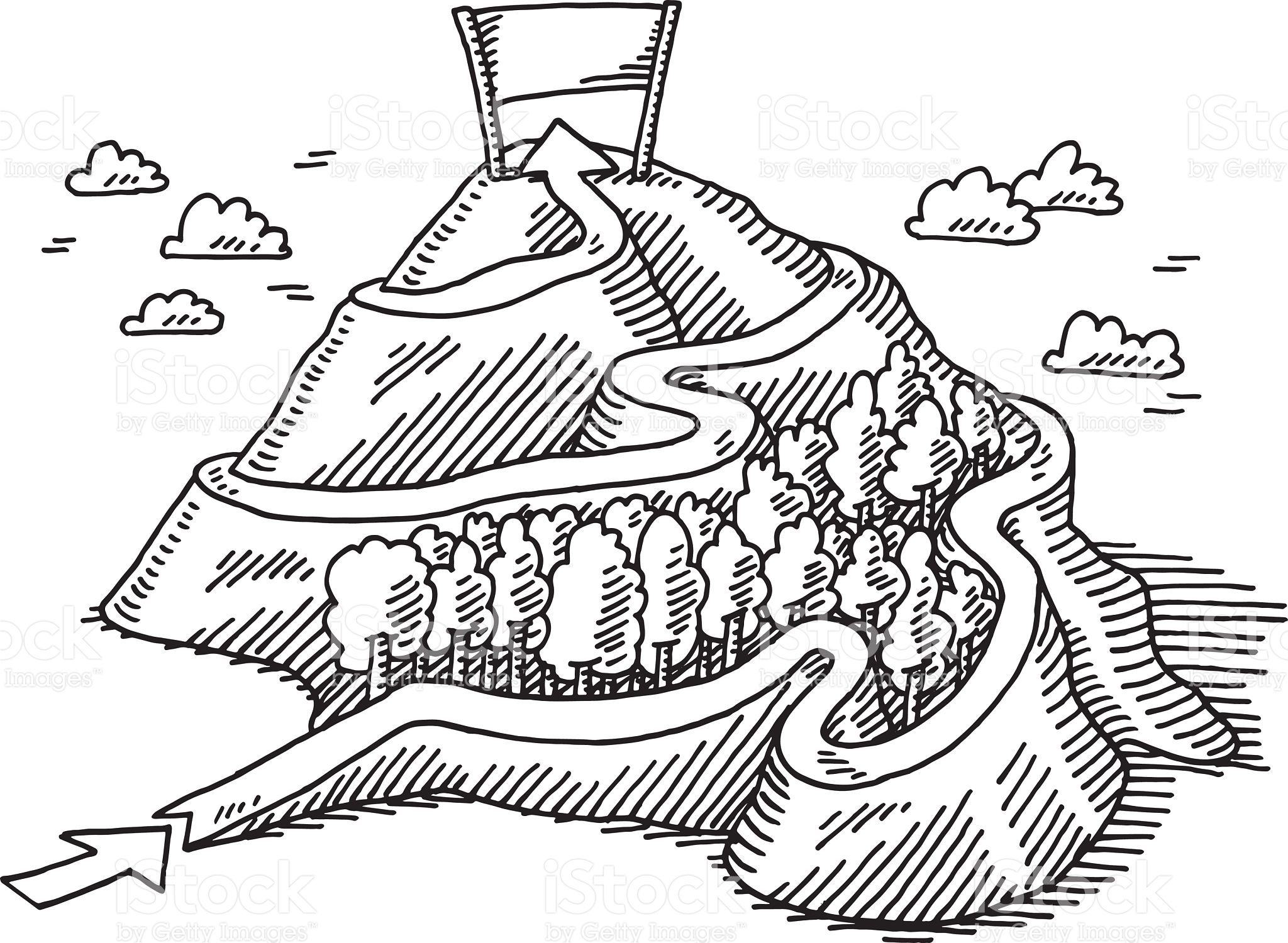 Handdrawn vector drawing of a Start Finish Path Mountain