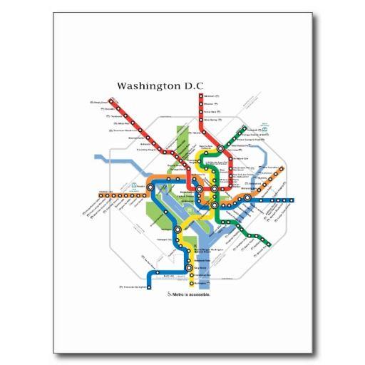 Hotel Subway Map Washington Dc.Washington Transit Dc Subway Map Underground Postcard Zazzle Com