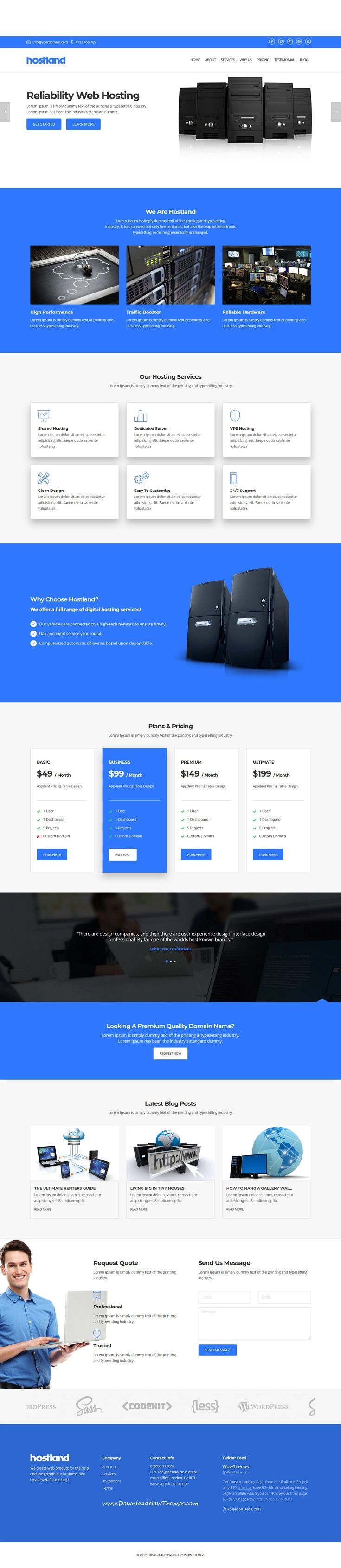 Hostland Is Clean And Modern Design Responsive Bootstrap Template