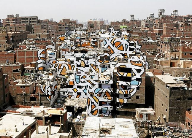 Artist Transforms Buildings In Cairo S Garbage City With Massive Calligraphic Message Egypt Cairo City