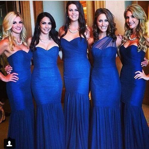 Mermaid Tulle Floor Length Bridesmaid Dresses pst0252
