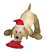 Product: Gemmy Industries 4' Animated Airblown Golden Retriever with Chritmas Stocking