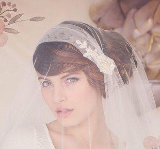 Wedding Veil, Fingertip length Veil, Bridal Veil, Tulle Veil, English Net Veil, Juliet Cap Bridal Veil, The Sylvia Bridal Cap Veil #153