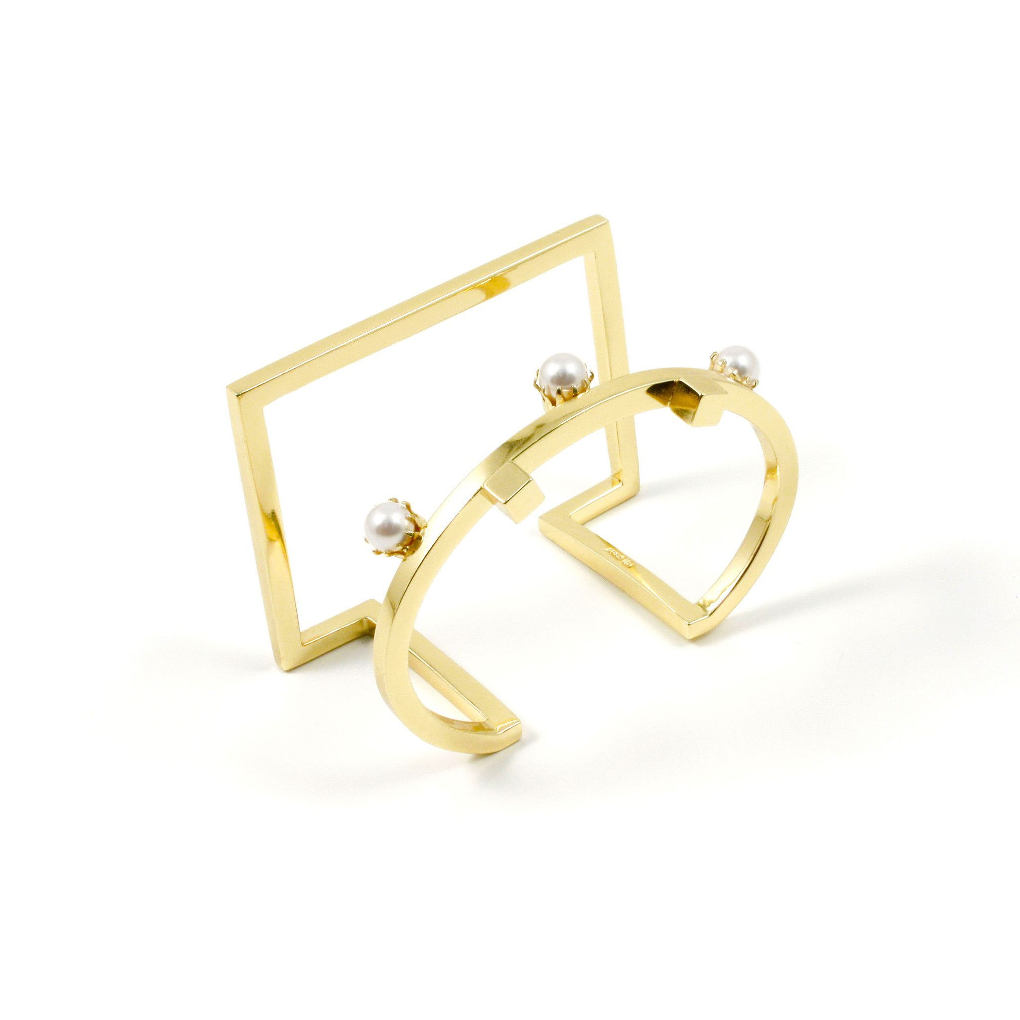 Shape Shifter Round & Square Cuff W/ Cubes & Pearls