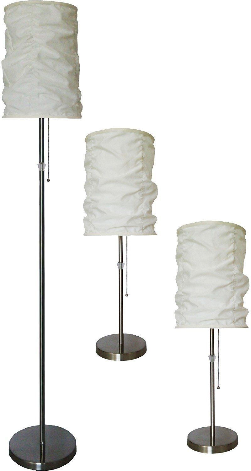 Brushed Steel 3 Piece Floor And Two Table Lamps Set With Wrinkled