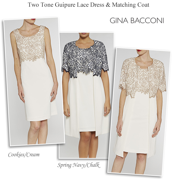 Gina Bacconi dress and matching lace coat navy cream ivory and gold two  piece occasion outfits plus size occasionwear f8cb793c6