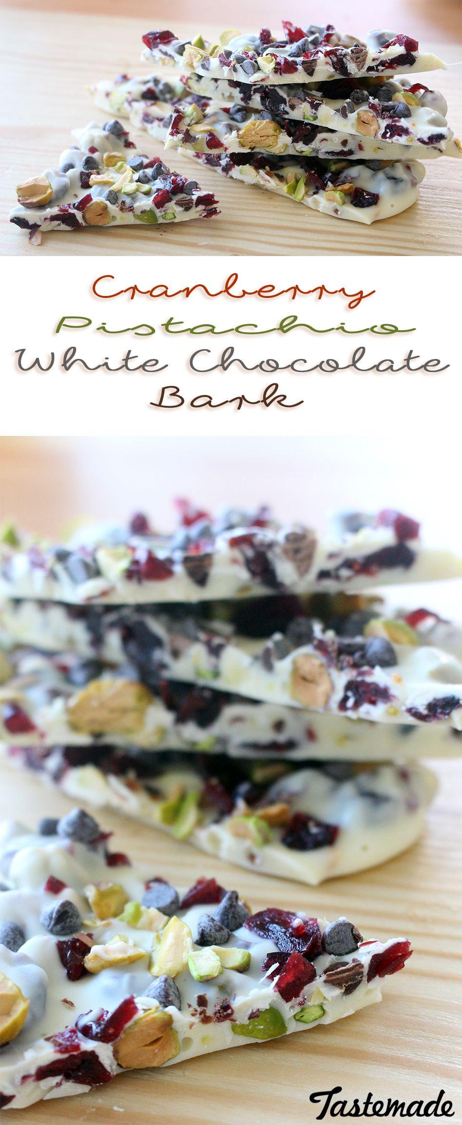 Cranberry Pistachio White Chocolate Bark ~ Recipe #holidaytreats