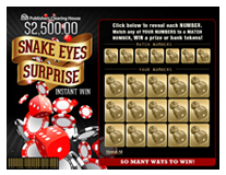 scratch off game 2 500 00 snake eyes surprise ideas for the house