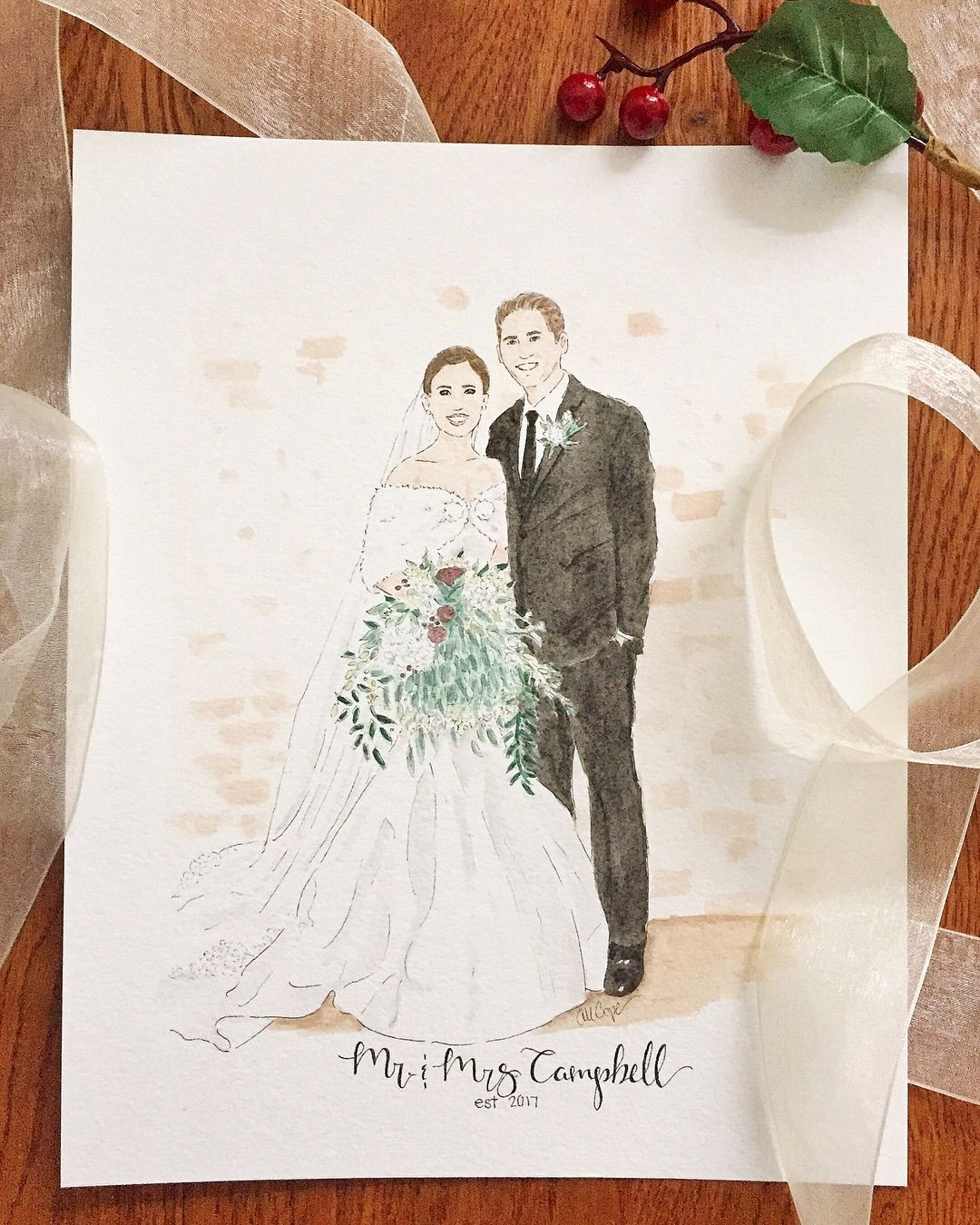 Personalized Watercolor Winter Wedding Painting Custom