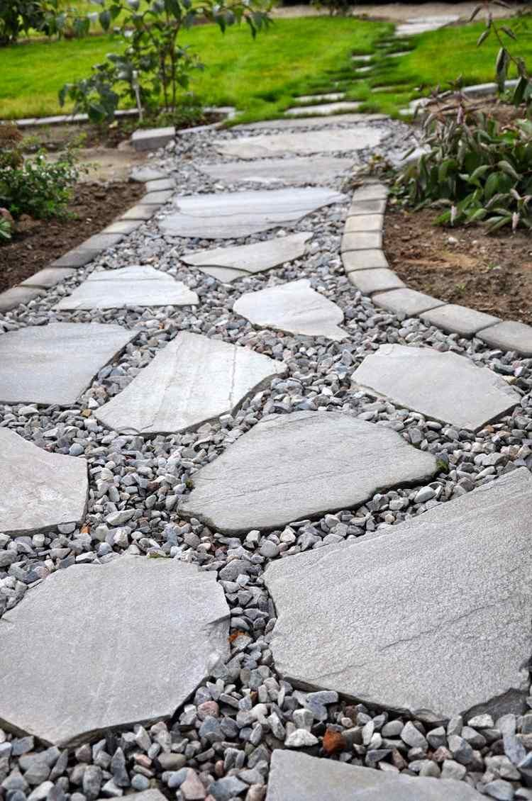 Comment Nettoyer Terrasse Pierre Naturelle allée jardin en gravier, ardoise et bois –créer une allée