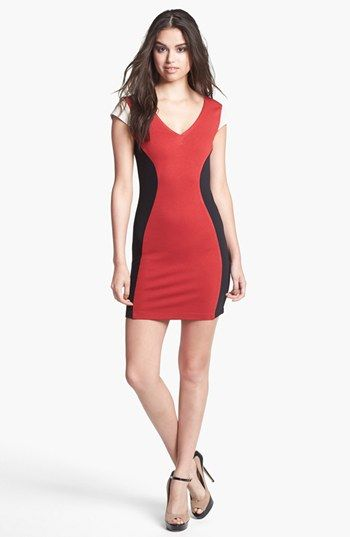 Madison Marcus Faux Leather Sleeve Colorblock Sheath Dress available at #Nordstrom Item #934411 ($240.00)