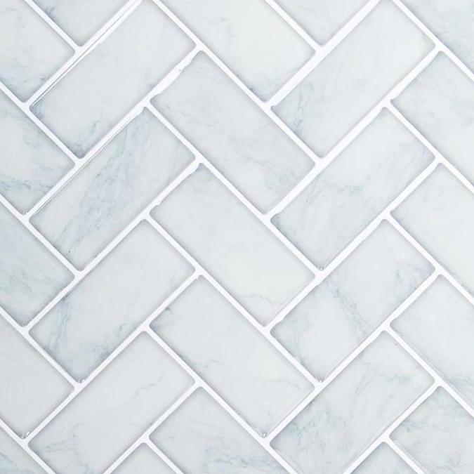 Truu Design Truu Design Self Adhesive Peel And Stick Herringbone Wall Tiles 10 X 10 In Light Blue 6 Lowes Com In 2021 Herringbone Wall Tile Herringbone Wall Light Blue Backsplash
