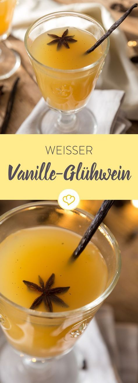 Weiße Weihnachten kannst du nicht zaubern, aber weißen Glühwein. Zu Weißwein und Orangensaft kommt noch Vanille, für ein köstlich-wohliges Aroma. #cocktails
