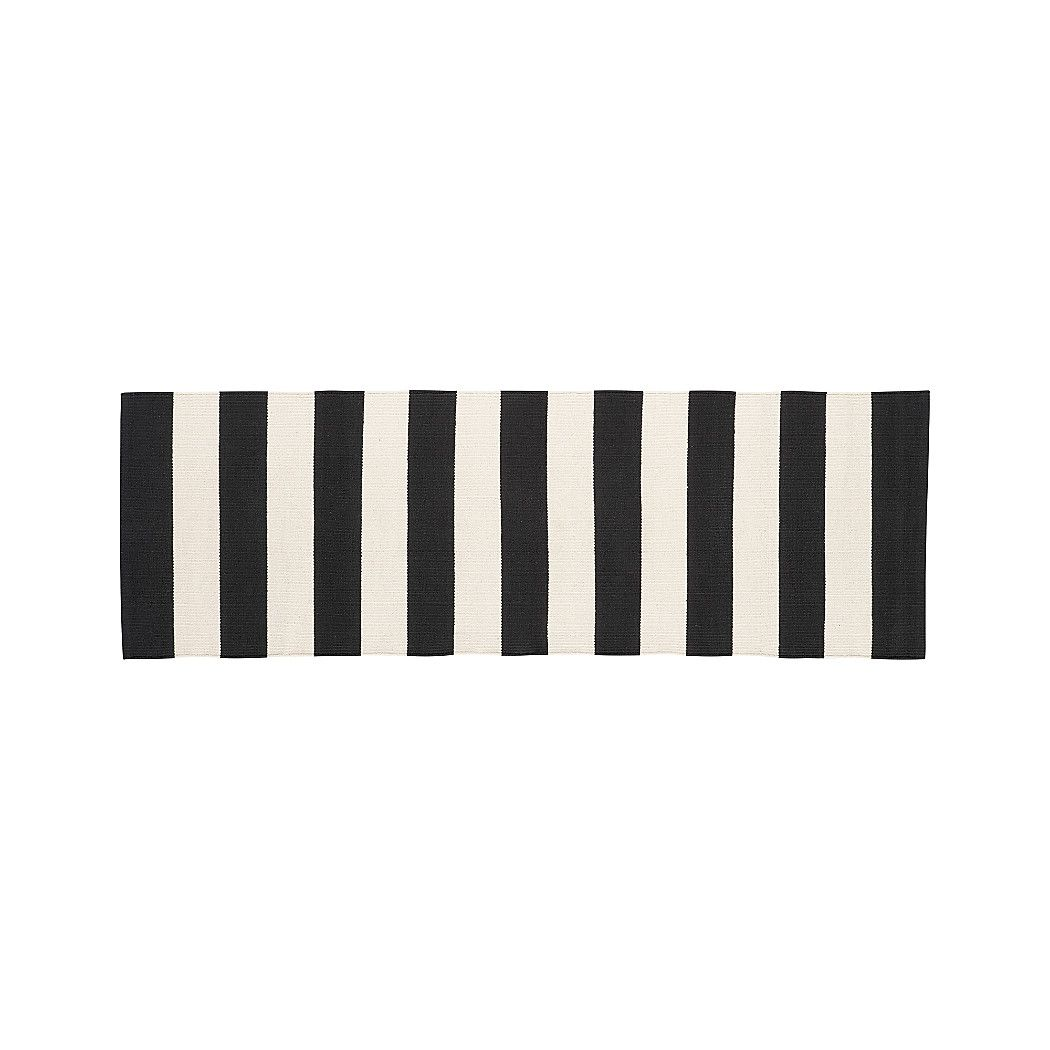 Olin Black Striped Cotton Dhurrie 2x6 Rug Runner Diy Home