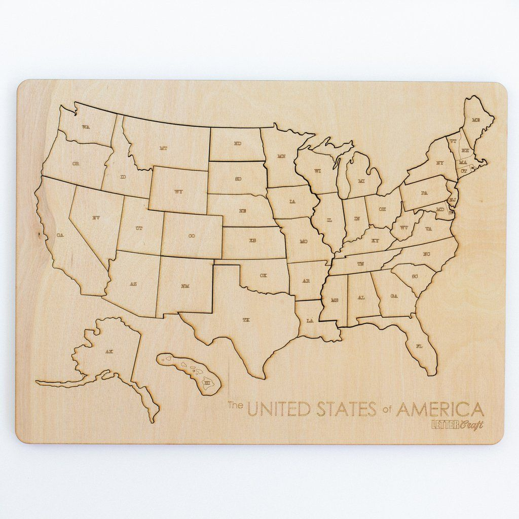 United States Puzzle Letter a crafts, Wood puzzles, Crafts