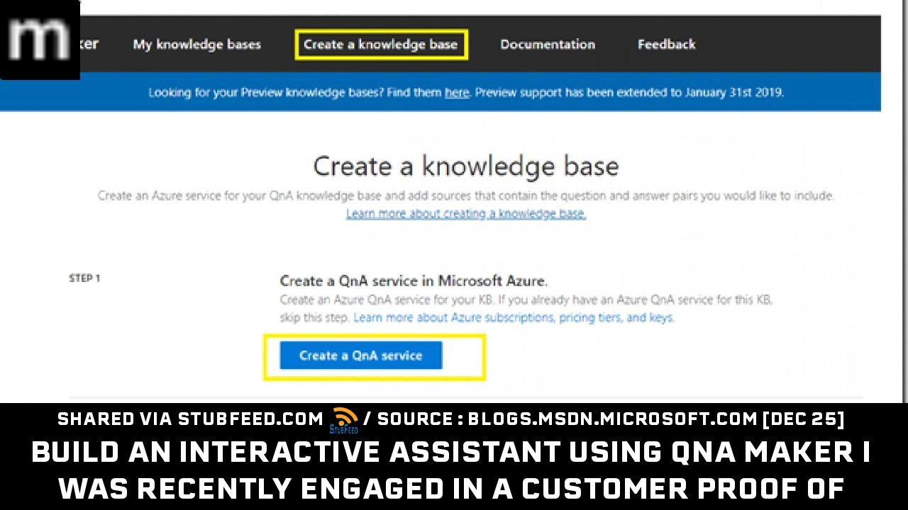 Build an interactive assistant using QnA M    New