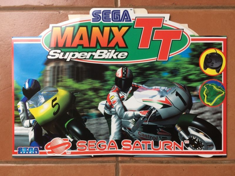 Sega Saturn Manx Tt Superbike Promo Mobile Retrogaming Hotss It Has Been Slightly Bent But It Is Flat And Still Looks Good Bin Auc Sega Saturn Sega Saturn