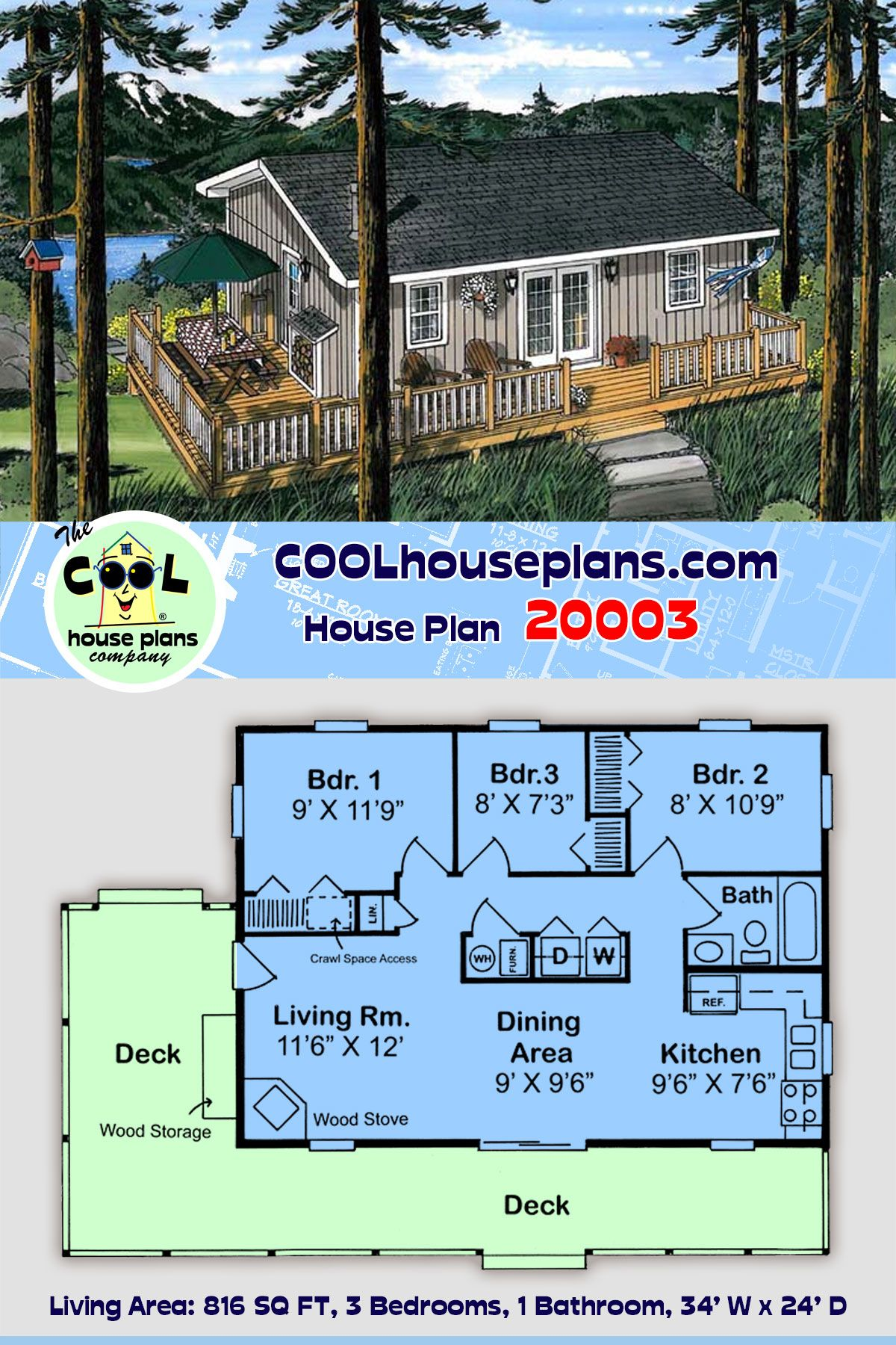 Traditional Style House Plan 20003 With 3 Bed 1 Bath Lake House Plans Beach House Floor Plans Vacation House Plans