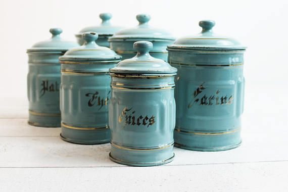 This Lovely Vintage French Enamel Kitchen Canister Set From France Is  Extremely Rare To Find.