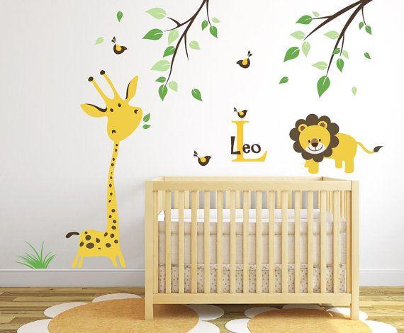Giraffe Wall Decal Jungle Safari Wall Decal Baby Nursery Ideas ...