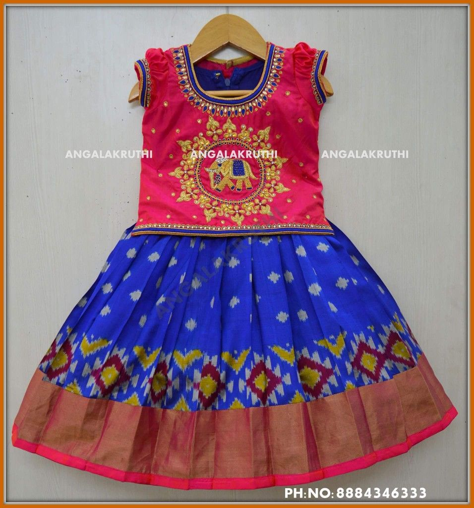 6afc82226610b Ikkat silk Lehenga for kids by Angalakruthi boutique Bangalore  Watsapp 8884347333 Silk pavada designs  Pattu Pavada designs by  Angalakruthi boutique ...