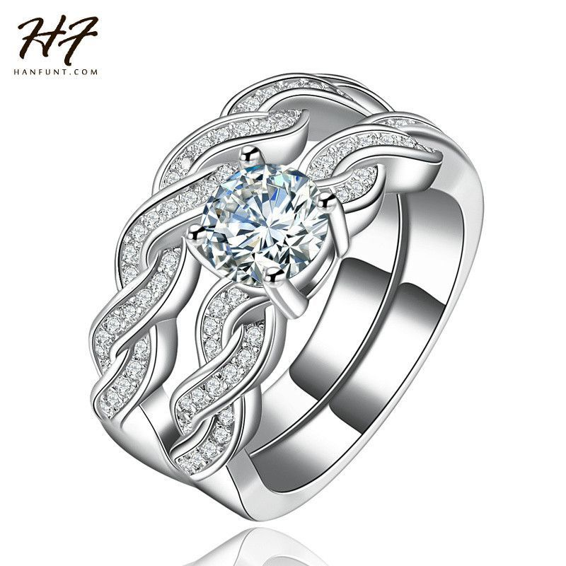 9 18K White Gold Plated Luxury 2 Rounds Bijoux Fashion Wedding Ring Set AAA+ CZ Diamond Jewelry For Women Chirstmas Gift R557