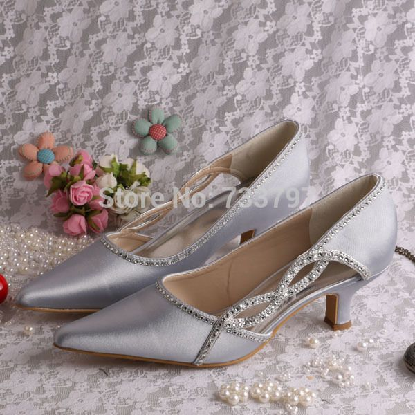 Click To Buy Special Design Pointed Toe Shoes Wedding Ladies Silver Satin