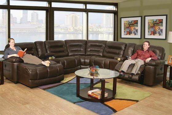 Kaneu0027s Furniture   Expo Brown 7 Piece Power Reclining Leather Sectional.  For Family Room.