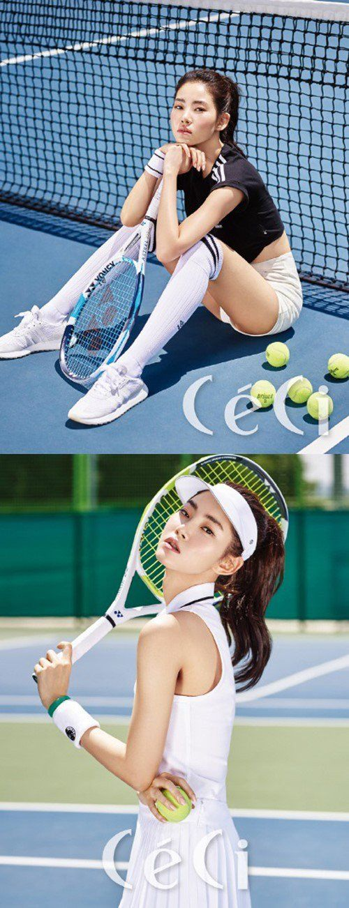 Hwang Seung Un Dominates The Courts In Ceci Pictorial Allkpop Com Tennis Court Photoshoot Tennis Fashion Editorial Tennis Photography