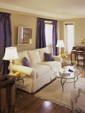 Living Room With Purple Pillows And Curtains Photographic Print With Images Home Bedroom Decor Family Living Rooms