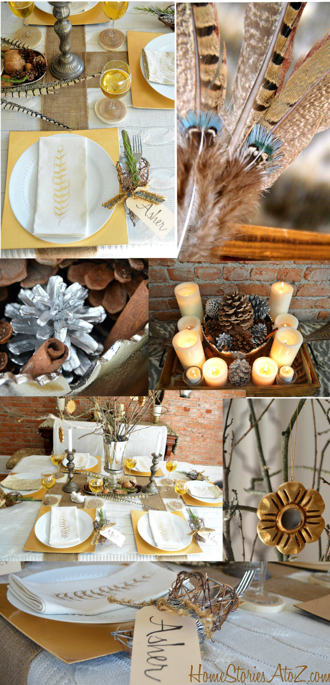 Natural Elements and Metallic Tablescape #thanksgivingtablesettings