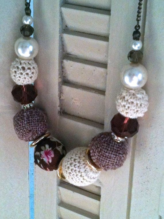 Fabric Covered Bead Statement Necklace by DyNaModuo on Etsy, $28.00