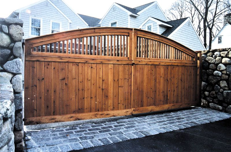 """16' wide — 72"""" Crowned Darien driveway gate #fence #fencing #yard #backyard #outdoor #home #house #landscape #landscaping"""