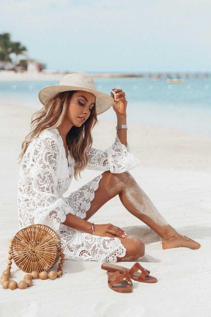Handgefertigte Strandhochzeitskleid weiß schiere Mesh Spitze Strand vertuschen Kleid #beachhoneymoonclothes