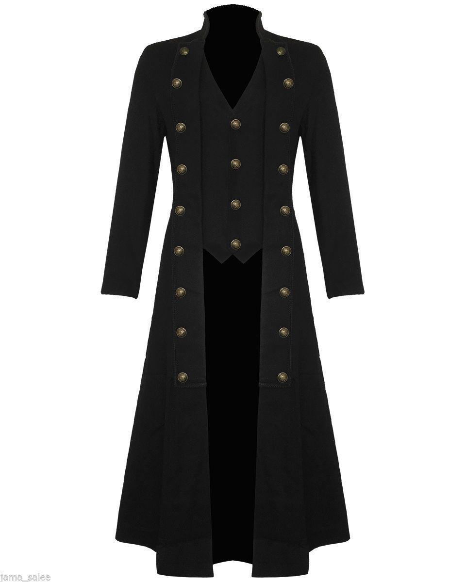 bdd8bc0187b Men Black Handmade Steampunk Military Trench Coat Long Jacket Black Gothic  VTG