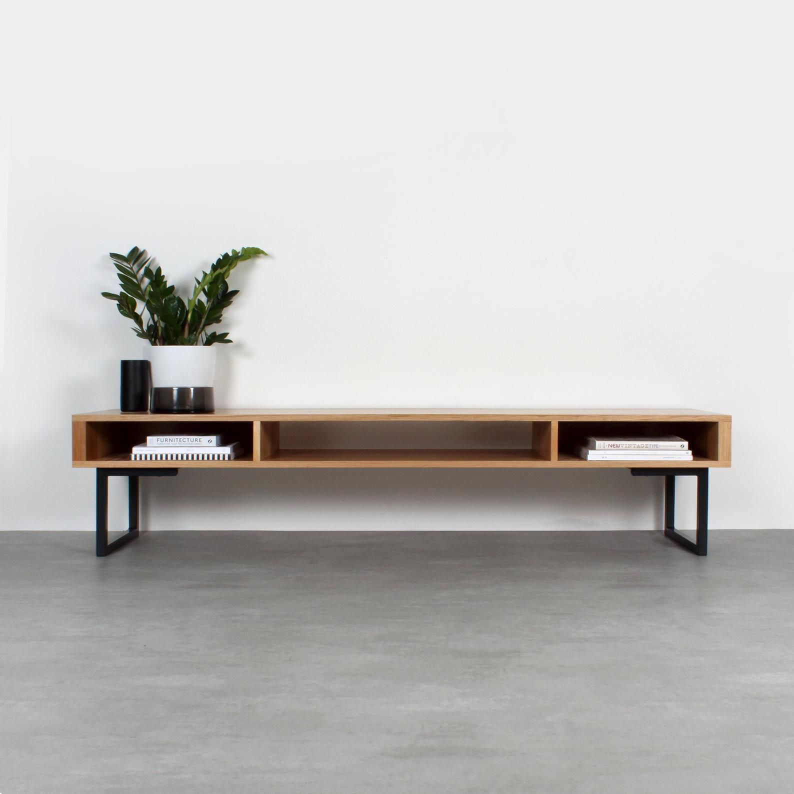 Extra Wide Solid Oak Tv Stand Or Coffee Table Minimalist Low Etsy Sofa Para Sala Pequena Salas Industriais Ideias Para Mobilia