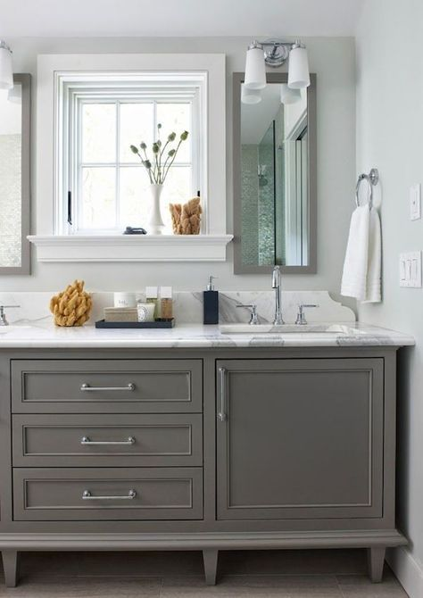 Gray Bathroom Vanity - Rachel Reider Interiors/love the backsplash and NO side panel