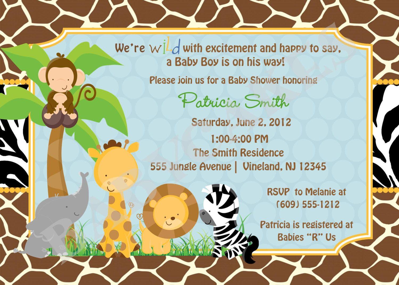 safari baby shower invitation invite jungle animals baby sprinkle