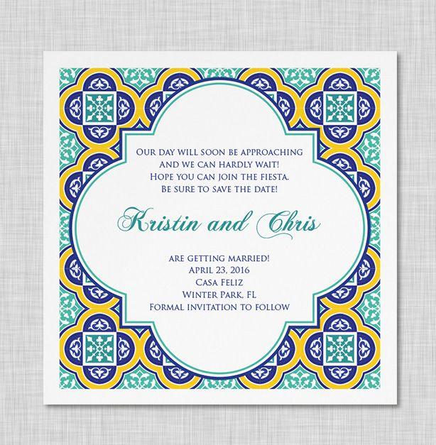 Casa feliz wedding invitation spanish tiles wedding invitations casa feliz wedding invitation stopboris Image collections