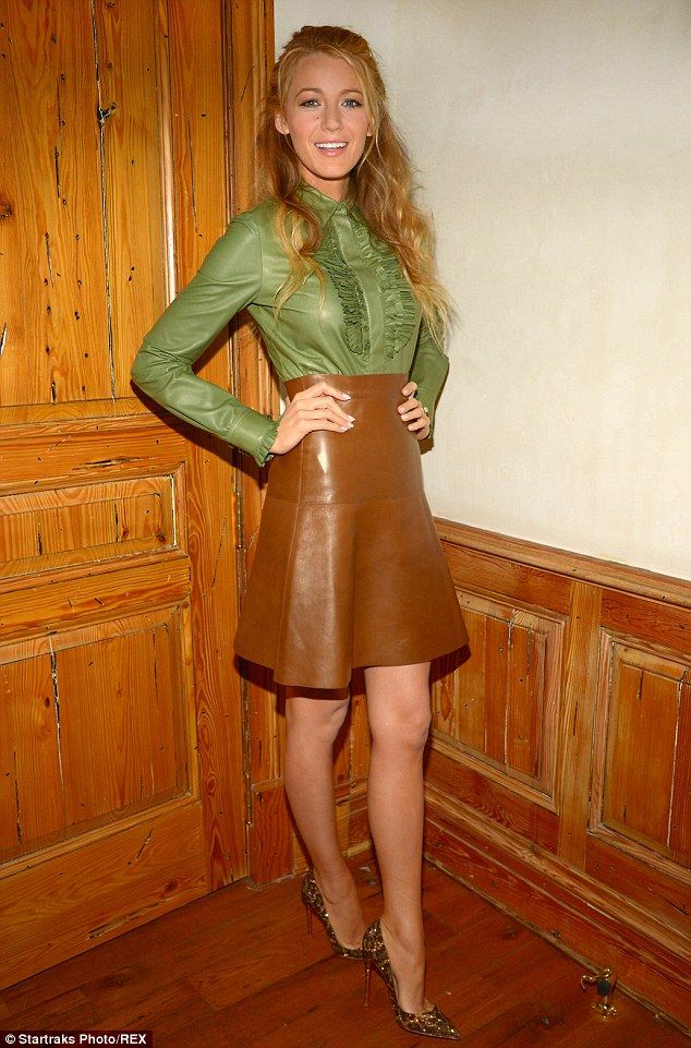 3ca8740b0 Blake Lively stands out in ruffled green blouse and short skirt ...
