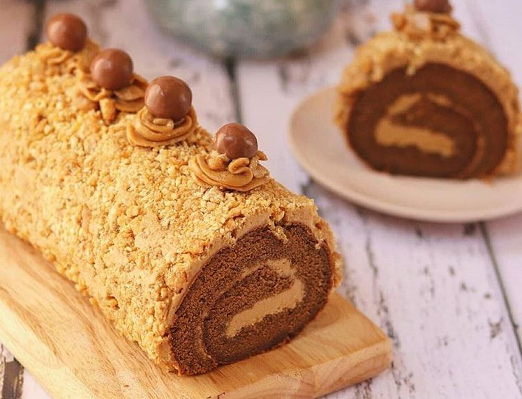 Mocca Nougat Roll Cake Kue Gulung Kue Bolu Kue