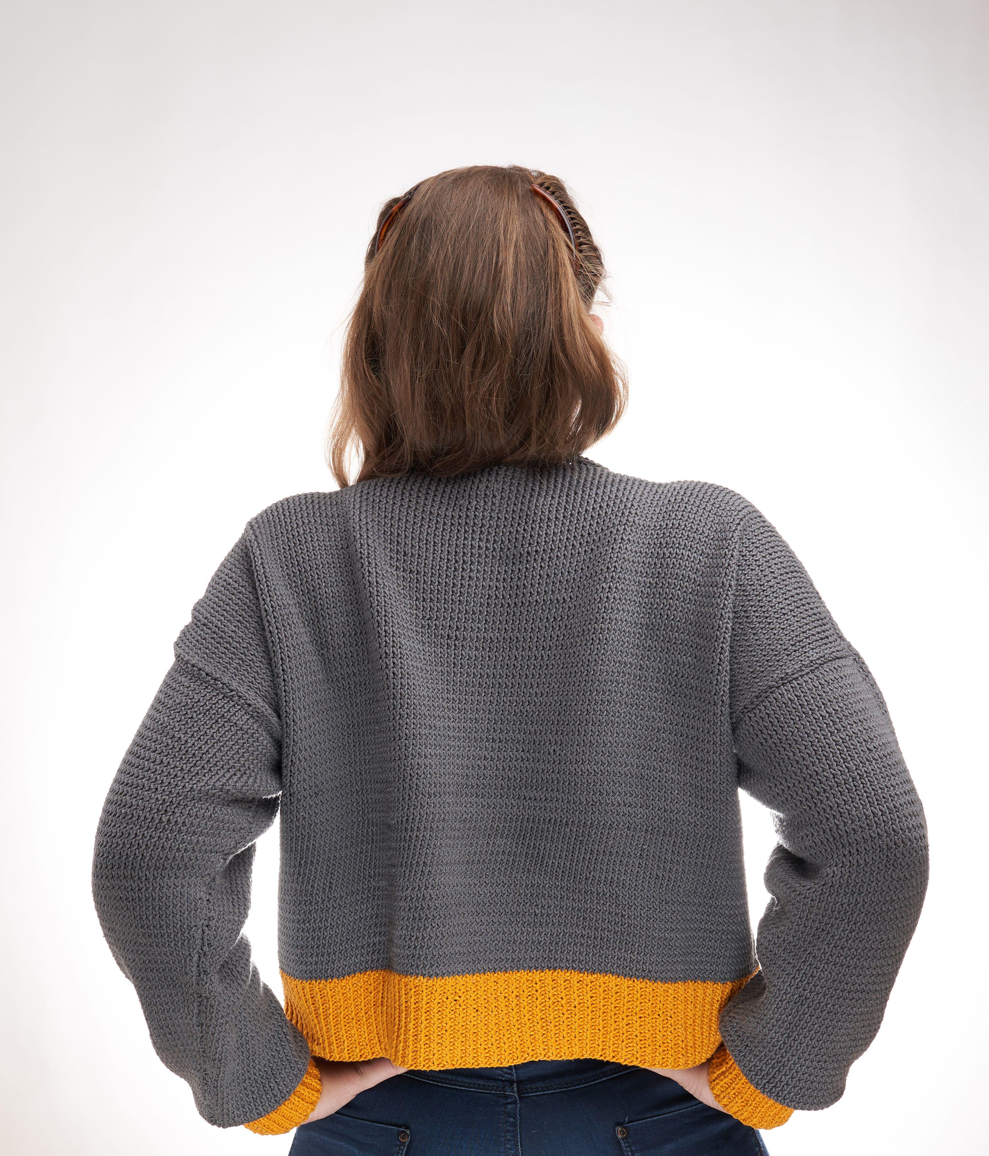 Sunshine Cropped Sweater Knitting Pattern Free - Knitting with Chopsticks