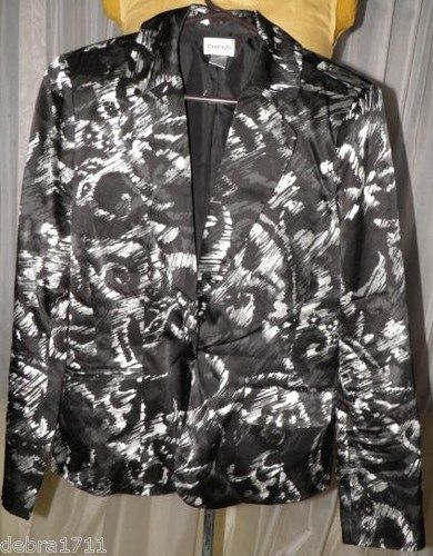 Chico's Sz 1 Black Silver White Print Silk Cotton Lined Jacket 8 10 Fit 3 4 Slv | eBay