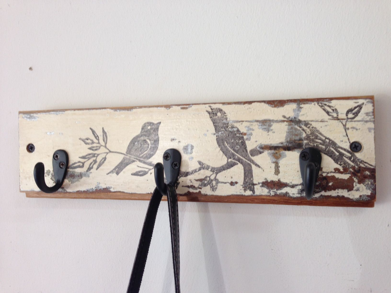Reclaimed Wood Coat Or Key Hook Rack With Vintage Bird