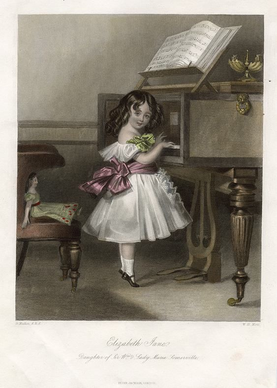 Elizabeth Jane Somerville playing pianoforte, 1849