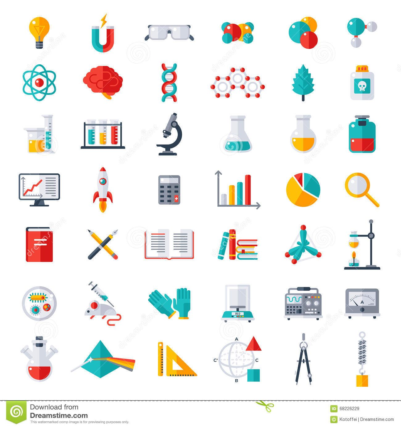 Physics Chemistry Biology Icons Set Stock Vector Image Science Equipment Chemistry Drawing Biology